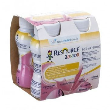 RESOURCE® Junior Fibre jahodový 4x200 ml